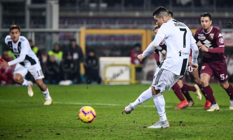 La Juve fatica, ma non si ferma mai: 1-0 di rigore al Torino, decide CR7