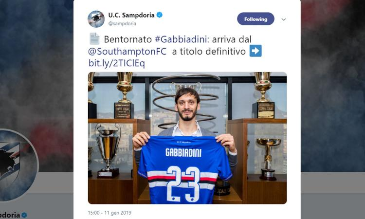 Sampdoria, UFFICIALE: torna Gabbiadini