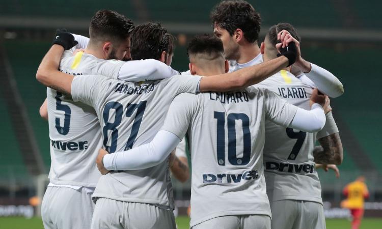 Coppa Italia: l'Inter ne fa 6 al Benevento, ora la Lazio ai quarti