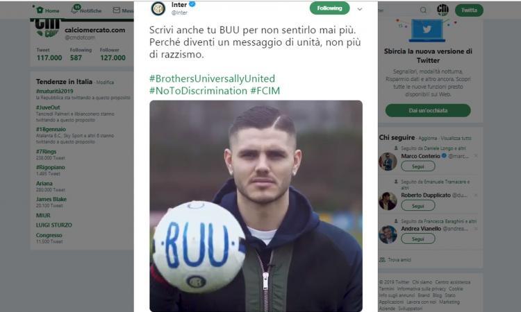 L'Inter risponde ai razzisti con un BUU