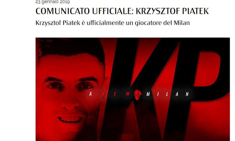 MILAN, UFFICIALE: PRESO PIATEK