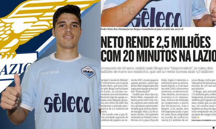 Clamoroso: i 20 minuti di Pedro Neto costano alla Lazio 2,5 milioni di euro!