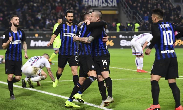 D'Ambrosio-Nainggolan, vince l'Inter: 2-1 alla Samp sotto gli occhi di Icardi