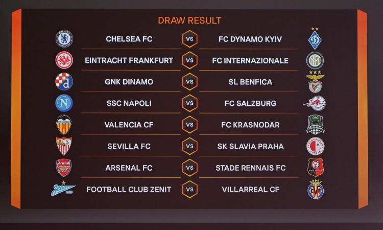 Europa League, i sorteggi degli ottavi: Eintracht-Inter e Napoli-Salisburgo