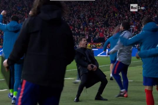 Watch: Atletico Madrid boss Diego Simeone's hilarious celebration for Atletico first