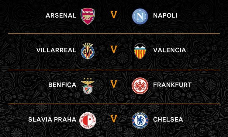 Europa League: quarti Arsenal-Napoli, in semifinale Villarreal o Valencia