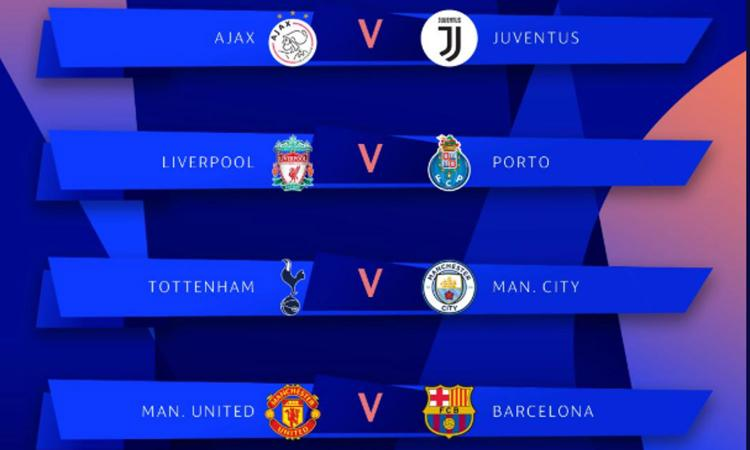 Sorteggi Champions: Ajax-Juve, in semifinale Man City o Tottenham