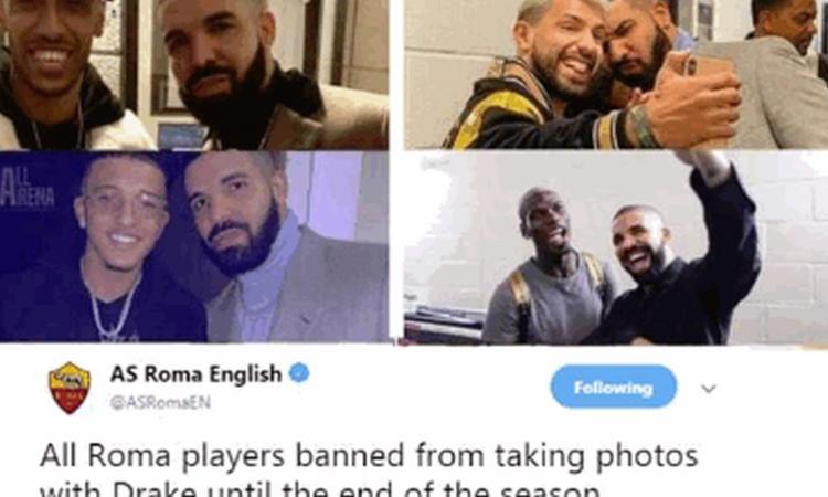 La 'maledizione di Drake' continua, la Roma: 'Niente foto con lui'. E il Man United gli mette la maglia del Barcellona