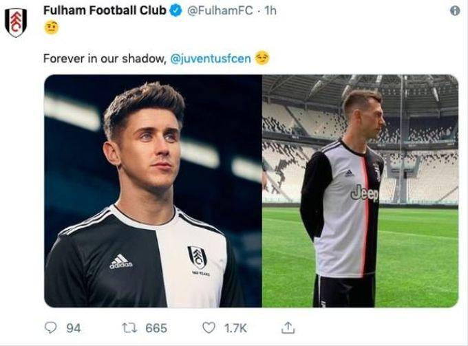 finest selection ff588 f019f Fulham mock Juventus' new shirt but delete Tweet shortly ...