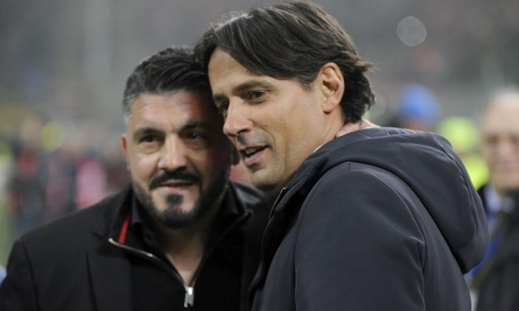 Milan e Lazio, panchine appese alla Coppa: Gattuso-Inzaghi, chi perde salta