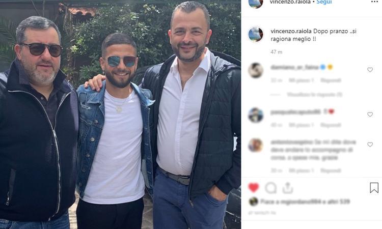 Raiola-Insigne-Napoli, nuovo incontro: vuole rimanere e l'Inter... FOTO