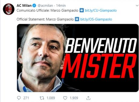 Milan, UFFICIALE: Giampaolo è il nuovo allenatore