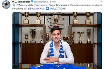 maroni, sampdoria, ufficiale, twitter, 2019
