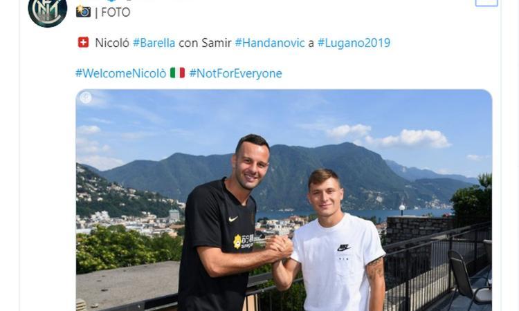 Inter, Barella incontra capitan Handanovic FOTO