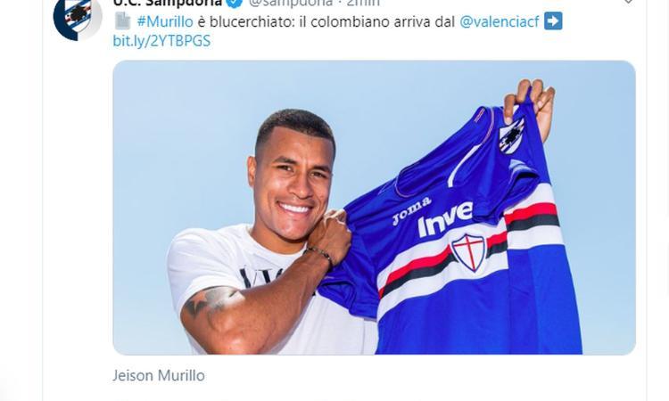Sampdoria, UFFICIALE: ecco l'ex Inter Murillo dal Valencia