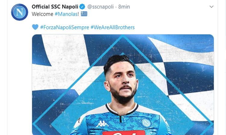 Napoli, Manolas è arrivato a Dimaro: l'abbraccio con Ancelotti e De Laurentiis