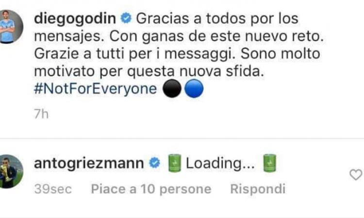 Griezmann commenta l'arrivo di Godin con 'loading' e i tifosi dell'Inter impazziscono FOTO