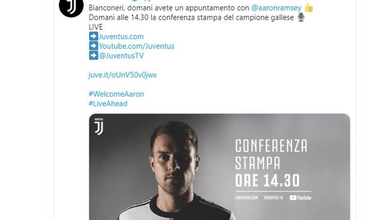 Juve, domani la conferenza di presentazione di Ramsey