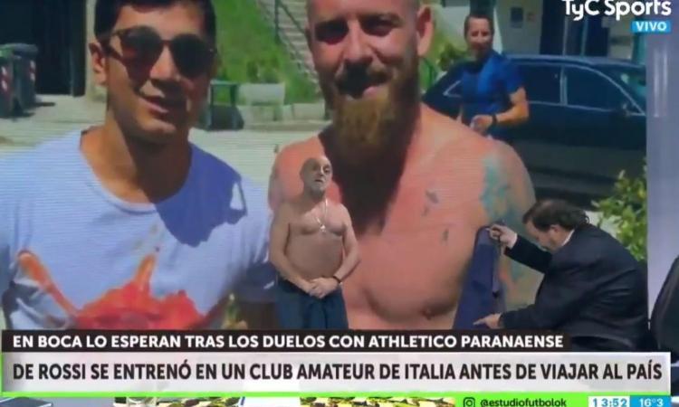 Boca Juniors, un giornalista critica De Rossi e si spoglia in tv: 'Ho lo stesso fisico!' VIDEO