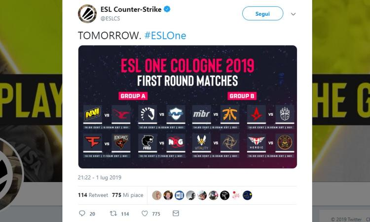 Counter Strike Global Offensive: al via l'ESL One Cologne 2019, 300mila dollari di montepremi