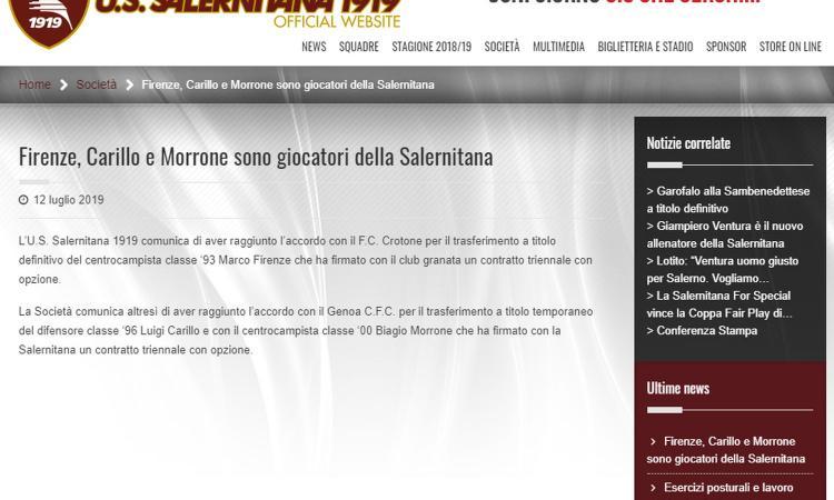 Salernitana, UFFICIALE: preso Firenze, due prestiti dal Genoa