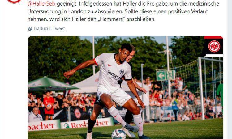 Eintracht Francoforte, UFFICIALE: Haller al West Ham, c'è l'accordo