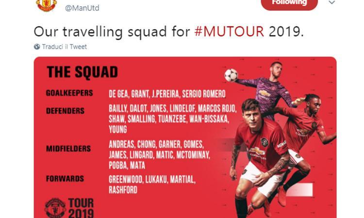 Manchester United, la lista UFFICIALE dei convocati per la tournée. Ci sono Lukaku, Pogba e Matic