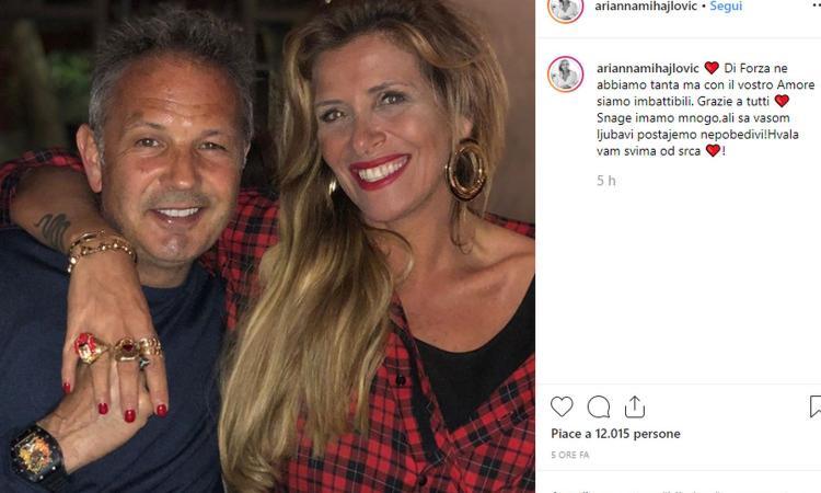 La moglie di Mihajlovic: 'Con il vostro amore siamo imbattibili' FOTO. Sinisa 'in panchina' per l'amichevole del Bologna