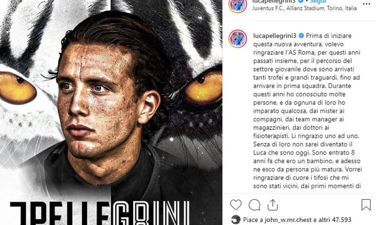 Juve, Pellegrini: 'Grazie Roma, grazie tifosi, ora sono in uno dei club più titolati al mondo!'