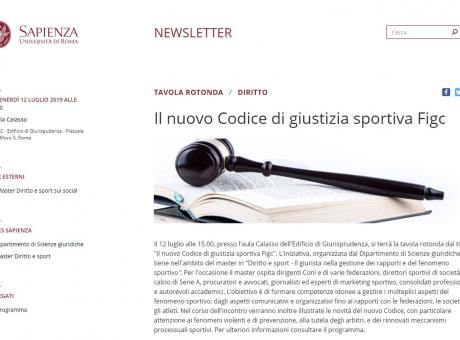 Domani alla Sapienza si parla del nuovo Codice di Giustizia Sportiva