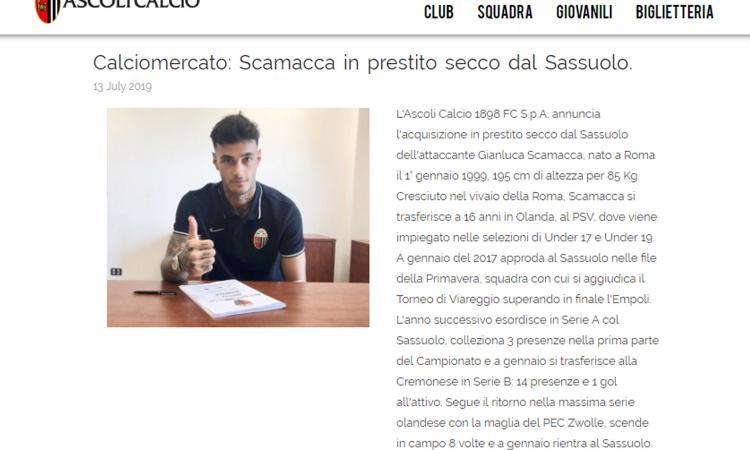 Sassuolo, UFFICIALE: un attaccante all'Ascoli