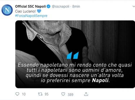 Napoli, il messaggio di ricordo a De Crescenzo