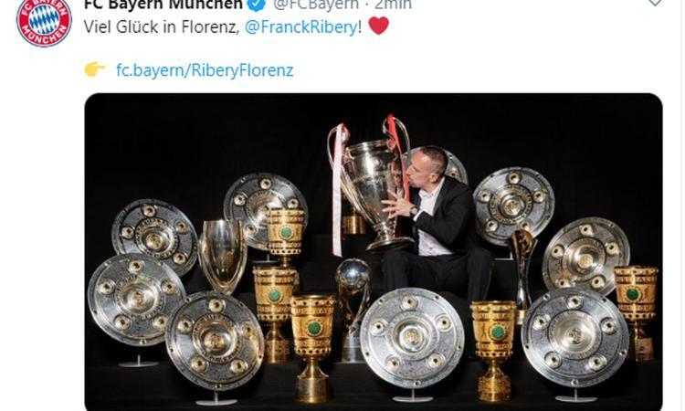 Bayern Monaco, messaggio a Ribery: 'In bocca al lupo a Firenze!'