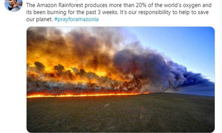 Foresta amazzonica in fiamme, il messaggio di Ronaldo