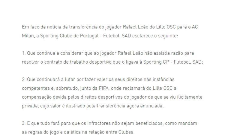 Milan, prima grana per Leao. Sporting Lisbona: 'Risolse il contratto con noi senza motivo, ci rivolgiamo alla Fifa'