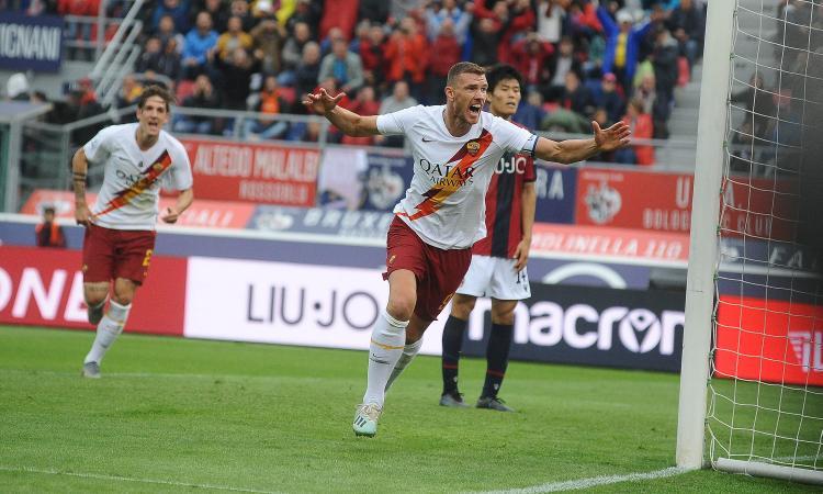 Dzeko gol in pieno recupero: la Roma sbanca Bologna