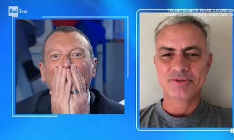 Il piccolo Jose, figlio di Amadeus, riceve una sorpresa: c'è Mourinho, e lui si commuove VIDEO
