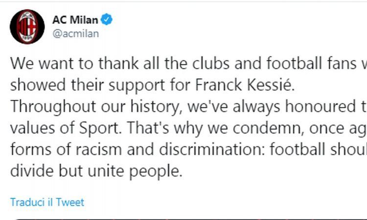 Milan: 'Grazie per il sostegno a Kessie, condanniamo ogni forza di razzismo'