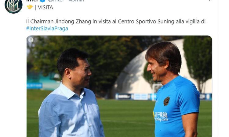 Inter, è arrivato Zhang Jindong: 'Felice dell'inizio di stagione'. In serata cena con Moratti