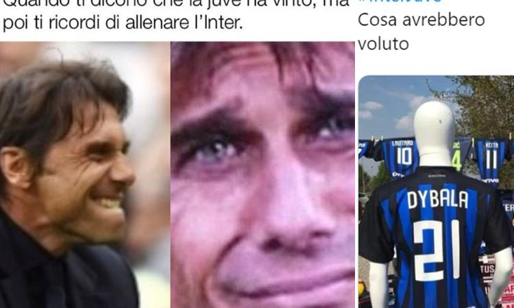Inter-Juve: dalle 'lacrime di Conte' a 'di nuovo Higuain', FOTO meme e sfottò del web