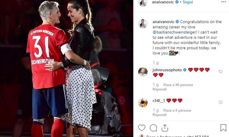 Schweinsteiger si ritira, il dolce messaggio di Ana Ivanovic FOTO