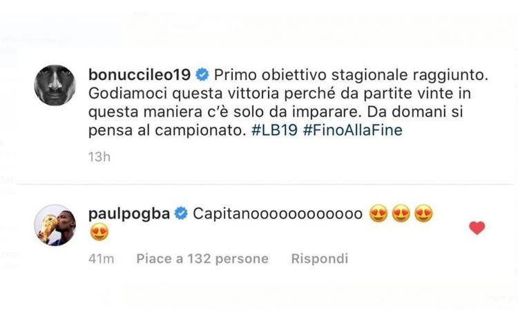 Pogba, messaggio d'amore alla Juve e Bonucci: 'Capitano!'