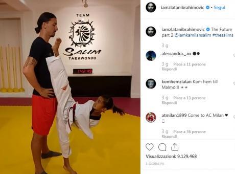 Ibra impassibile mentre la ragazzina lo sfida a taekwondo FOTO