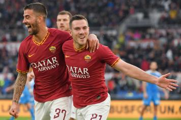 Spinazzola.Veretout.Roma.esultanza.2019.20.jpg GETTY IMAGES