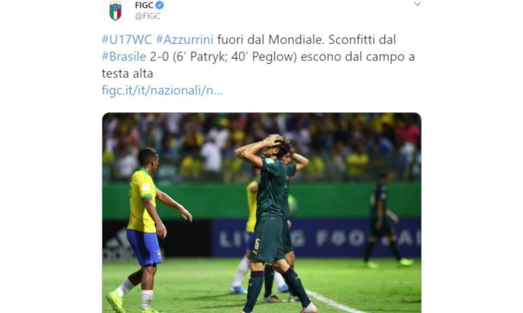 Italia ko contro il Brasile e fuori dal Mondiale Under 17