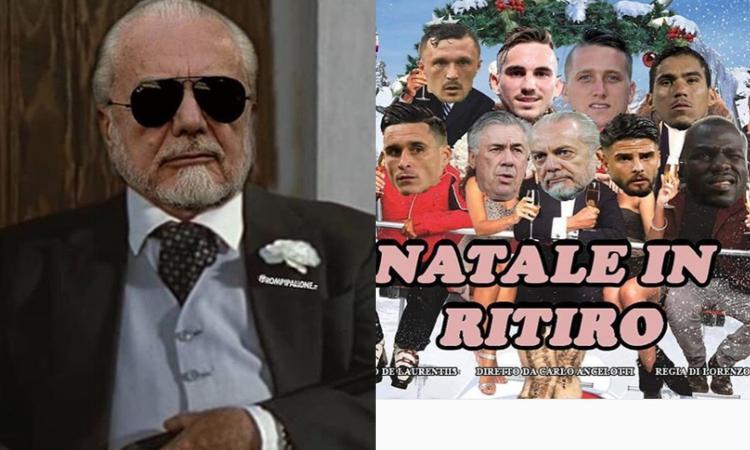 'Natale in ritiro', De Laurentiis come il Cavalier Cecconi: il caos Napoli fa impazzire il web!