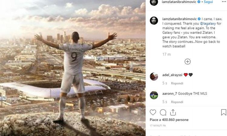 UFFICIALE, Ibrahimovic dice addio ai Galaxy: 'Ora tornate a guardare il baseball'