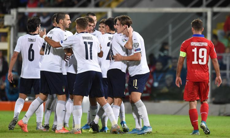 Italia da paura: 9-1 all'Armenia, percorso record per Mancini