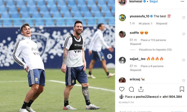 Juve, guarda che intesa in nazionale tra Dybala e Messi! FOTO