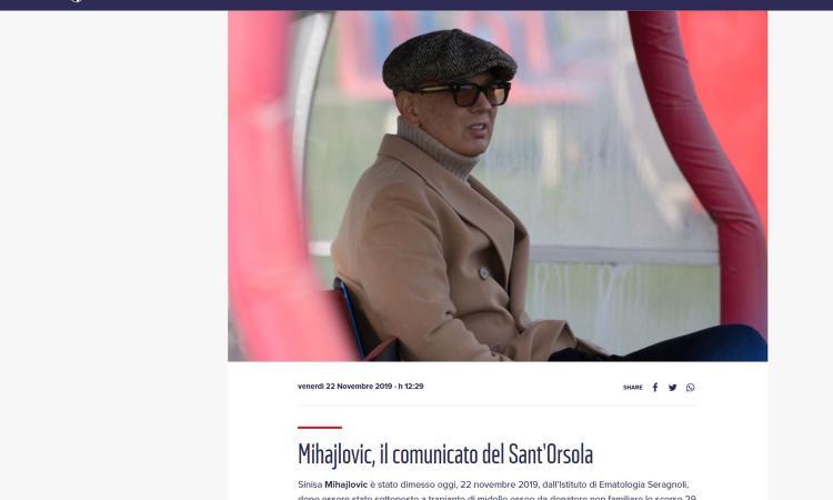 Mihajlovic, comunicato dell'ospedale: 'Sottoposto a trapianto di midollo osseo, gli esami sono positivi'